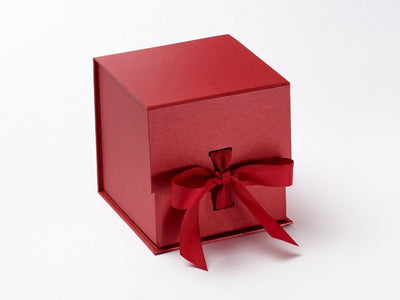 Sample Large Red Cube with Slots and Changeable Ribbon from Foldabox UK
