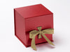 Large Red Cube Slot Gift Box with Gold Grosgrain Ribbon