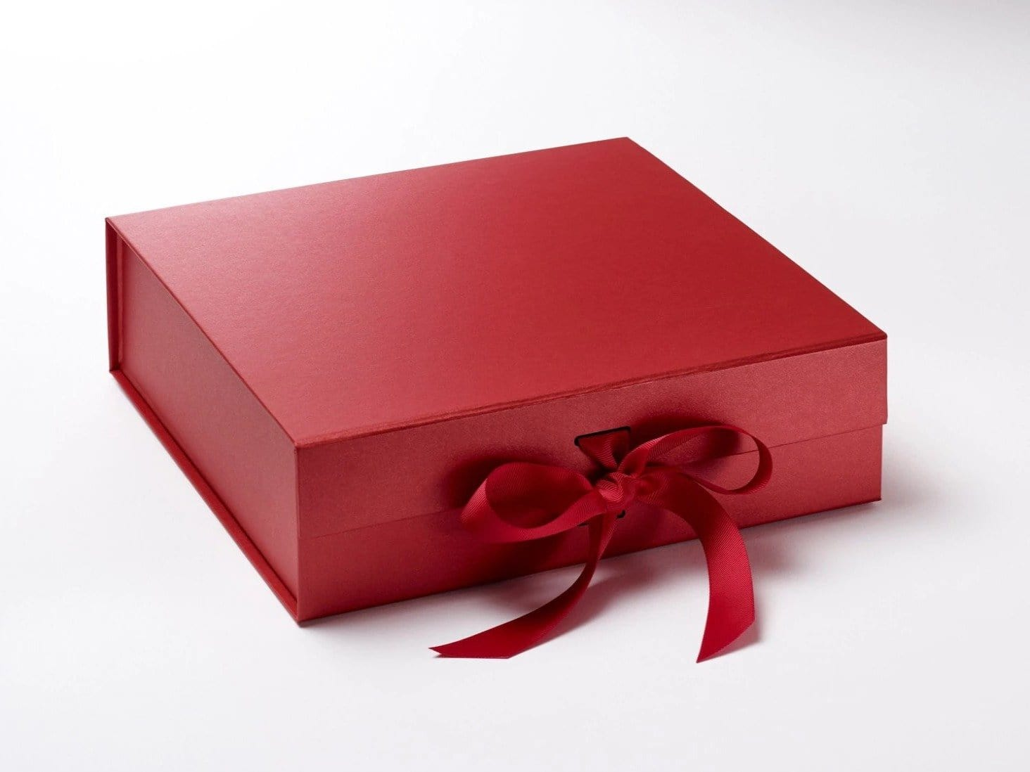 Red Large Gift Box or Hamper Box with Slots and Changeable Ribbon