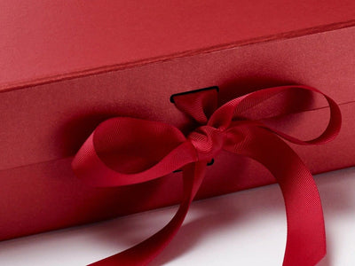 Large Pearl Red Gift Box with Slots and Ribbon from Foldabox UK
