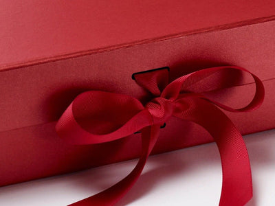 Red Large Gift Box sample with slots and changeable ribbon detail from Foldabox
