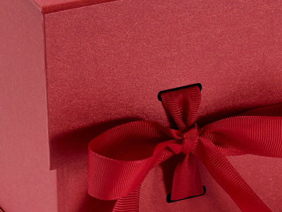 Large Pearl Red Cube with Slots and Changeable Ribbon Detail