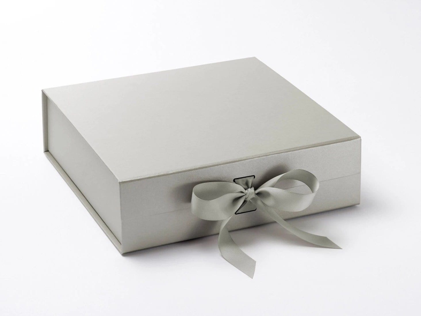 Silver Large Folding Gift Hamper Box with changeable ribbon from Foldabox UK