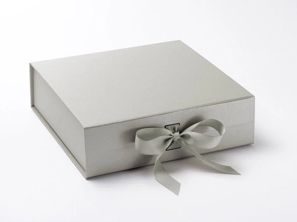 Luxury Silver Grey Large Gift Box With Changeable Ribbon