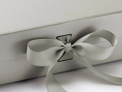 Silver Large Gift Box with Slots and Changeable Ribbon detail