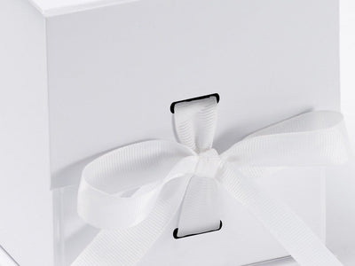 White Large Cube Folding Gift Box with changeable ribbon detail