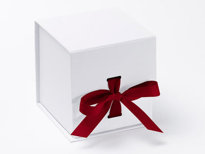 Large White Cube Gift Box Featured with Dark Red Ribbon