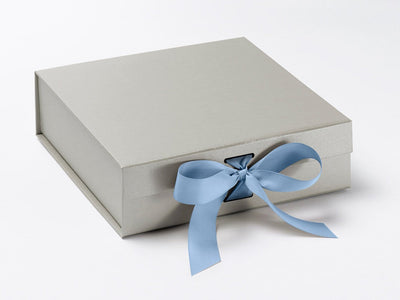 Medium Silver Slot Gift Box Featured with French Light Blue Ribbon