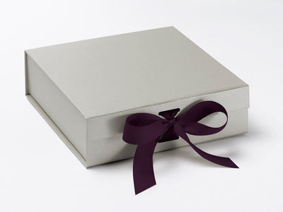 Medium Silver Slot Gift Box with Plum Purple Ribbon