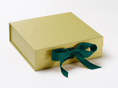 Gold Medium Slot Gift Box Featured with Spruce Green Ribbon from Foldabox