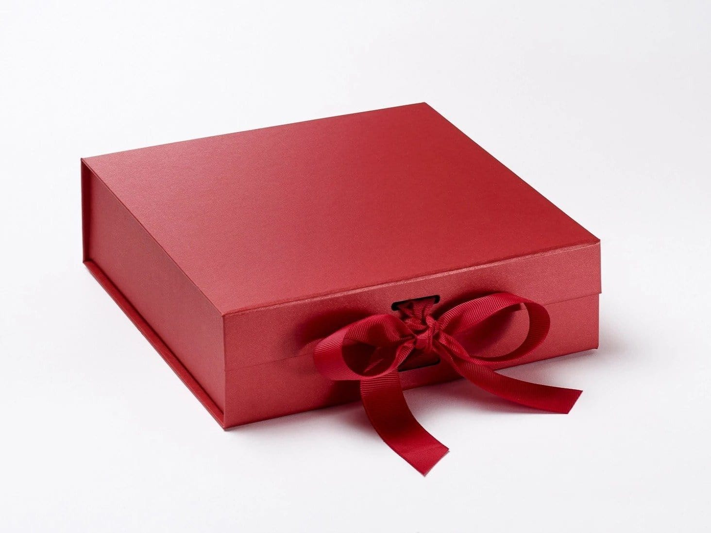 Medium Red Slot Gift Box with changeable ribbon and magnetic closures from Foldabox