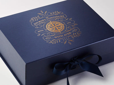 Navy Blue Luxury Gift Box with Custom Copper Foil Printed Design from Foldabox