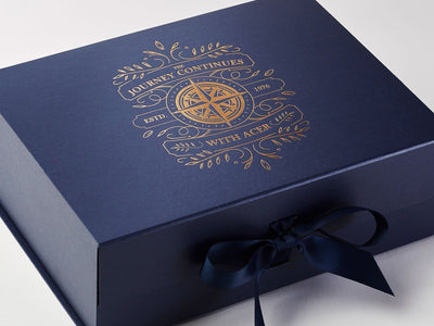 Navy Blue Gift Box with Copper Foil Custom Printed Design