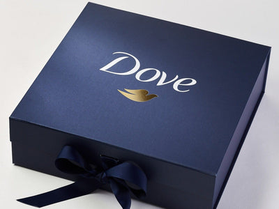 Navy Blue Large Gift Box with 2 Colour Custom Print Design