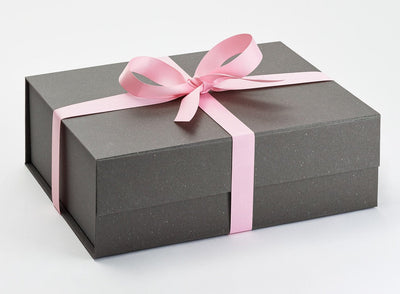 Rose Pink Grosgrain Ribbon Traditionally Tied Around Naked Grey Gift Box