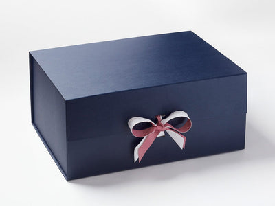 Rosy Mauve and White Ribbon on Navy Blue A3 Deep Gift Box