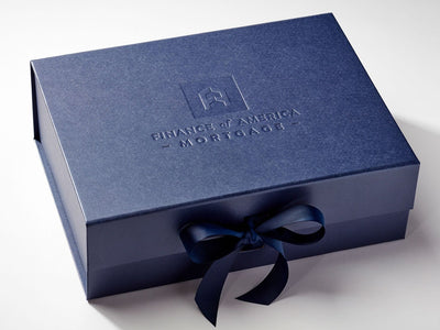 Navy Blue Gift Box with Custom Debossed Logo