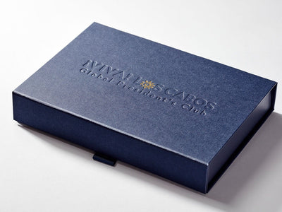Navy Blue Shallow Gift Box with Custom Debossed and Foil Logo