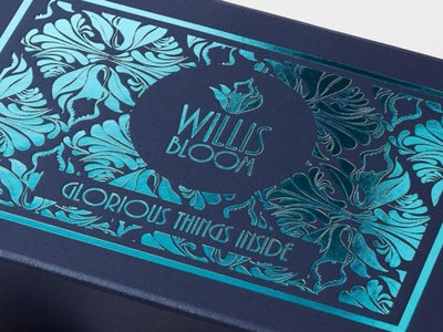 Navy Blue Gift Box with Custom Printed Teal Foil Design