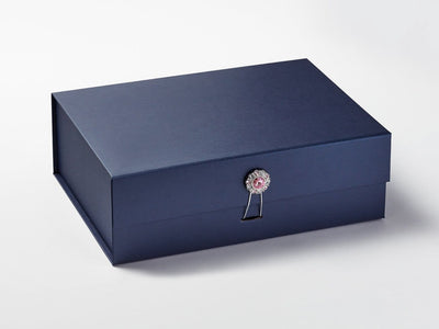 Navy Gift Box with Rose Quartz and Diamond Flower Gemstone Closure