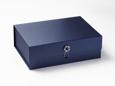Navy Blue A4 Deep Gift Box featuring Sapphire Flower Gemstone Closure