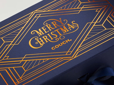 Navy Blue Gift Box Featuring Copper Foil Large Coverage Print Design
