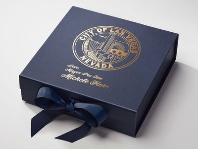 Navy Blue Gift Box with Custom Copper Foil Print Design