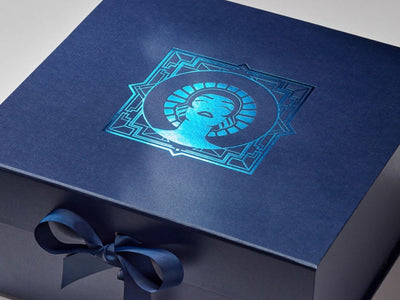 Navy Blue Gift Box printed with Custom Blue Foil Design