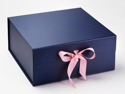 Navy Blue XL Deep Gift Box Featured with Rose Pink Ribbon