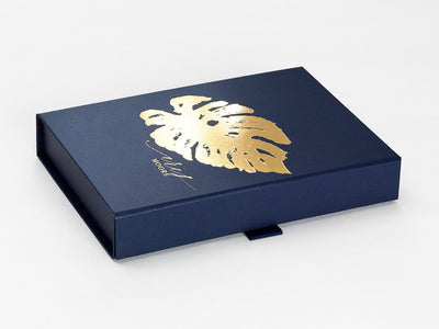 Navy Blue Gift Box with Custom Printed Gold Foil Design