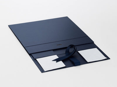 Navy Blue A4 Deep Gift Box Sample Supplied Flat with Ribbon