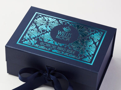 Navy Blue Luxury Gift Box with Turquoise Foil Design