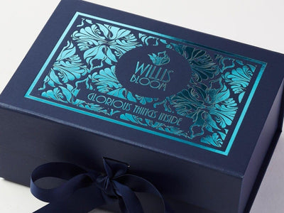 Navy Blue Folding Gift Box with Custom Turquoise Custom Printed Design