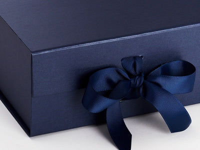 Navy Blue A5 Deep Folding Gift Box Ribbon Detail