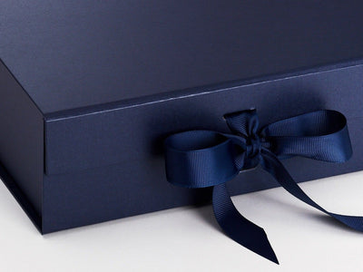 Navy Blue Large Folding Gift Box Front Ribbon Detail