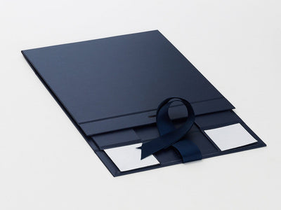 Navy Blue Gift Box Sample Supplied Flat with Ribbon from Foldabox