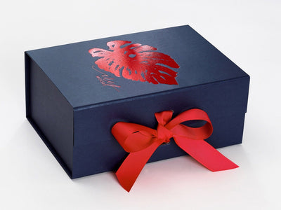 Navy Blue Gift Box with Red Foil Custom Print and Added Red Ribbon