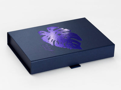 Navy Blue Gift Box with Custom Printed Purple Foil Design
