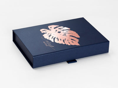 Navy Blue Gift Box with Custom Printed Rose Gold Foil Design