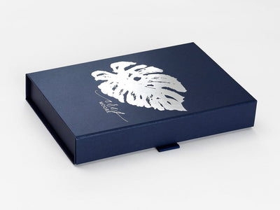 Navy Blue Gift Box with Custom Printed Silver Foil Design