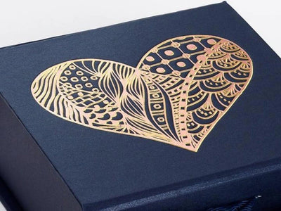 Navy Blue Gift Box with Gold Foil Custom Logo Print