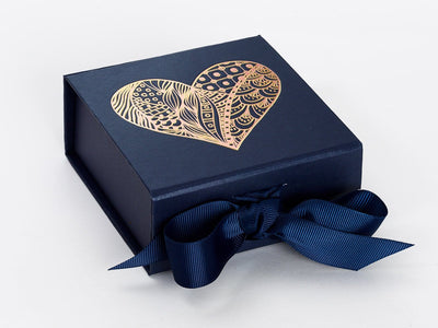 Navy Blue Small Gift Box with Custom Printed Foil Heart Design