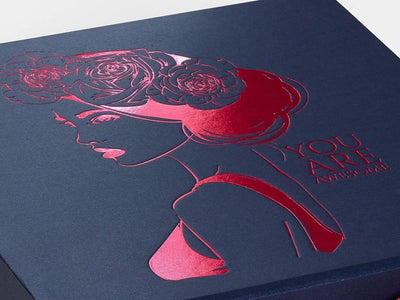 Navy Blue Folding Gift Box with Custom Printed Pink Foil Design