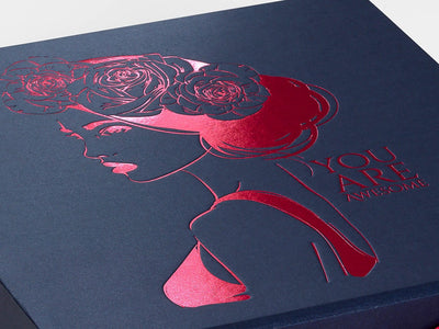 Navy Blue Gift Box with Custom Printed Pink Foil Design