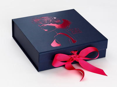 Navy Blue Gift Box with Custom Printed Foil Design and Hot Pink Ribbon