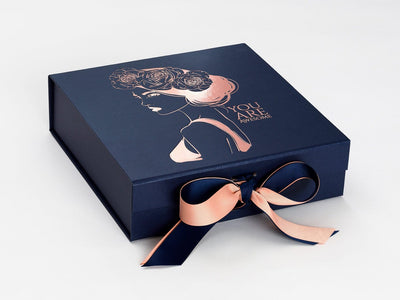 Navy Blue Gift Box with Custom Printed Rose Gold Foil Design and Additional Rose Gold Ribbon