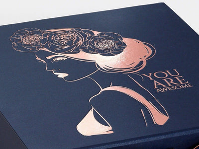 Navy Blue Folding Gift Box with Custom Printed Rose Gold Foil Design