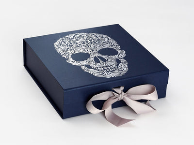 Navy Blue Gift Box with Custom Printed Silver Foil Design and Silver Grey Ribbon