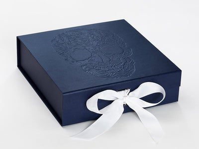 Navy Blue Gift Box with Custom Debossed Design and White Ribbon