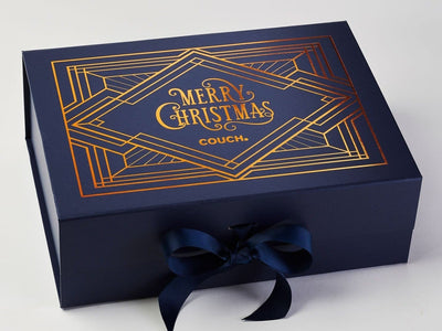 Navy Blue A4 Deep Gift Box with Copper Foil Custom Printed Design